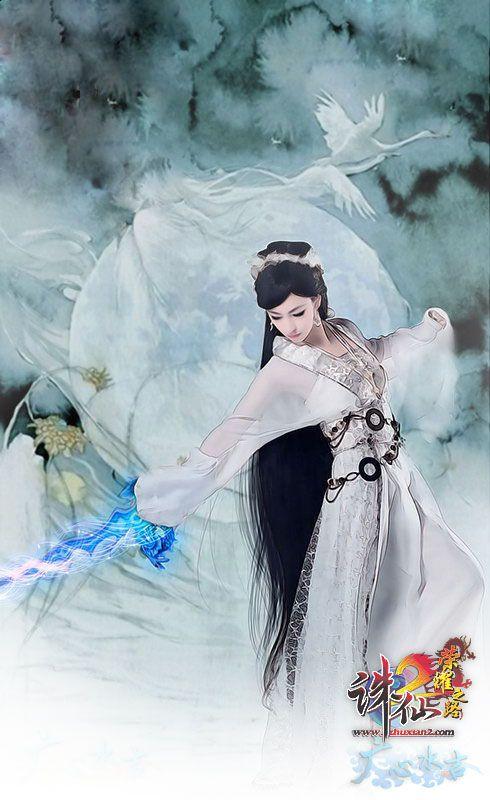 古风女子舞剑手绘